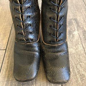 MIU MIU Black Distressed Leather Lace Up Boots